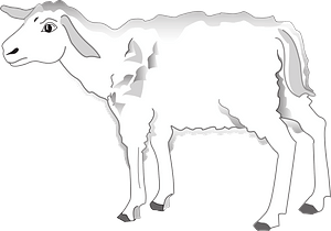 Worried lamb clipart