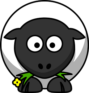 Cartoon lamb eating grass clipart