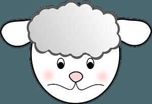 Sad lamb face clipart