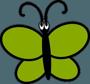 Green cartoon butterfly clipart