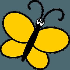 Yellow cartoon butterfly clipart