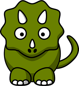 Green Triceratops with Big Eyes and Tiny Horns clipart