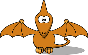 Brown Pterodactyl with Big Crossed Eyes clipart