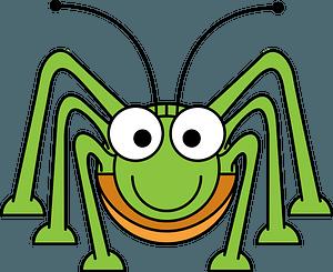 Smiling Green Grasshopper clipart