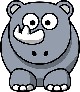 Rhino with Big Eyes and Funny Horn clipart