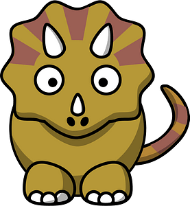 Triceratops with Big Eyes and Tiny Horns clipart