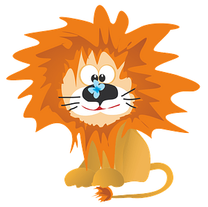 Cartoon lion with butterfly 클립 아트