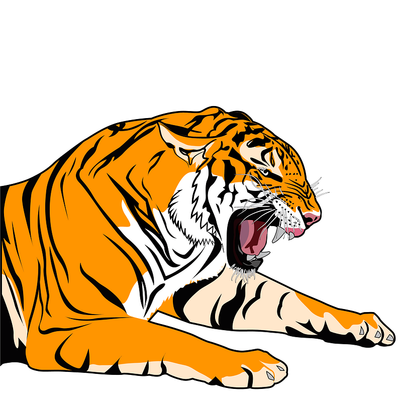 Growling tiger 클립 아트