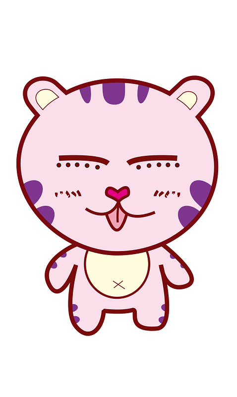 Pink cartoon tiger 클립 아트