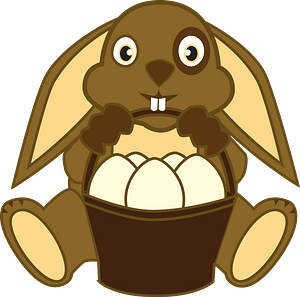 Easter bunny with a basket clipart
