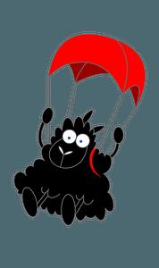 Sheep with a parachute clipart