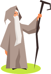 Wizard with Stick clipart