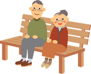 Old Couple is Sitting on a Bench clipart