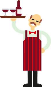 Waiter with wine clipart