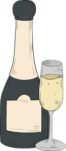 Champagne bottle and glass clipart