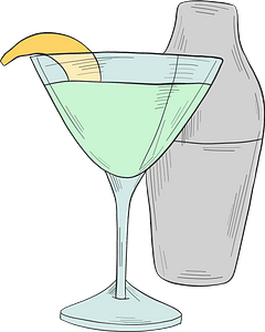 Cocktail and shaker clipart