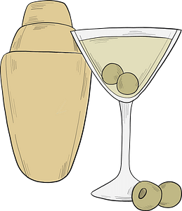 Martini glass and shaker clipart
