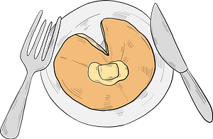 Plate with pancake clipart