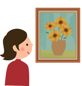 Woman is Appreciating the Painting clipart