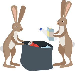 Rabbits cleaning up clipart