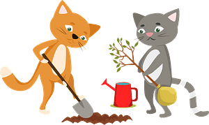 Cats planting a tree clipart