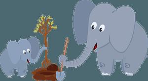 Elephants planting a tree clipart