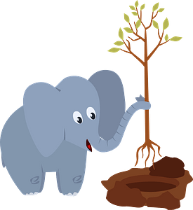 Elephant planting a tree clipart