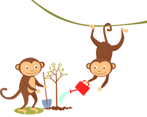 Monkeys planting a tree clipart