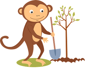 Monkey planting a tree clipart