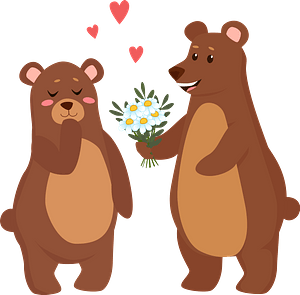 Bears in love clipart