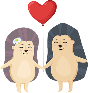 Hedgehogs in love clipart