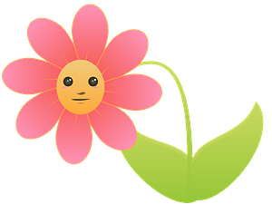 Pink Flower with Face clipart