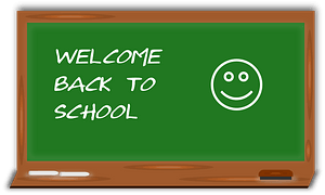 Chalkboard with Welcome Back message clipart
