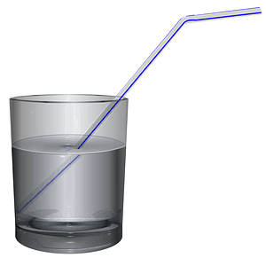 Glass of Water with a Straw clipart