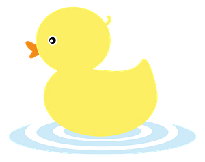 Yellow Rubber Duck in the Water clipart