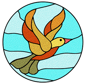 Stain Glass Bird in the Sky clipart