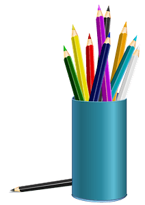 Blue Cup Filled with Color Pencils clipart