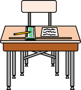 School Desk and Chair with Scantron and Test clipart