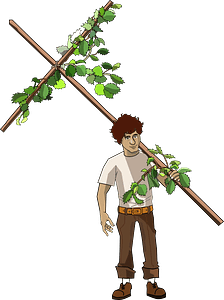 Pilgrim Carrying a Vine Covered Cross clipart