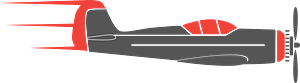 Black and Red Airplane clipart