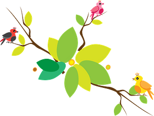 Flowering Branch with Tiny Birds clipart