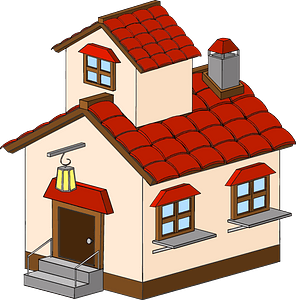 Tan House with a Red Roof clipart