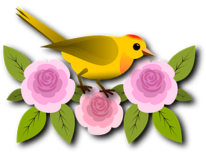 Yellow Bird Perched on Pink Flowers clipart
