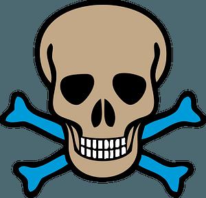 Skull and Blue Crossbones clipart