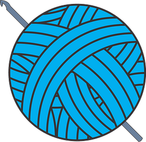 Ball of Blue Yarn and Crochet Hook clipart