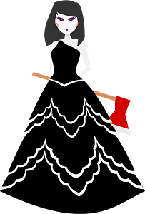 Woman in a Black Wedding Dress Holding an Axe clipart