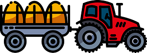 Tractor and hay wagon clipart