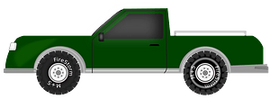 Green Pickup Truck clipart