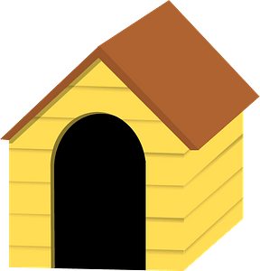 Yellow Doghouse with Brown Roof clipart