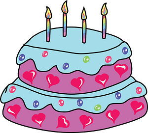 Layered Birthday Cake with Candles clipart